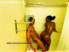 Ebony chick with big tits and moreover ass getting fucked in shower - spy movie