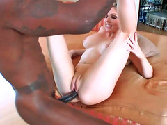 Dainty blonde sweety enjoys having rough sex with a black stud