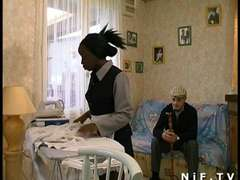 French ebony maid banged in three-way with Papy Voyeur