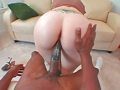 Youthful sassy blondie downing black dick for the first time