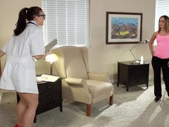 A duo sexy girls are giving blowjob off a doctor in his office