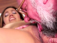 Brunette removes her clothes and furthermore then an old lad penetrates her cunt