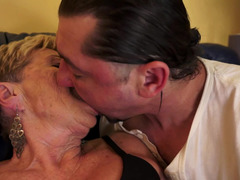 Nasty aged granny is getting penetrated on the sofa today