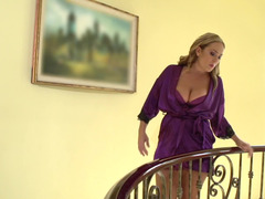 Sexually available mom and the French maid suck on his large cock together