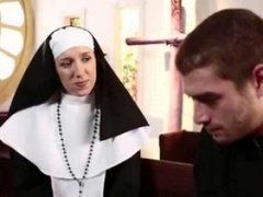 Blonde nun pounded in orgy action