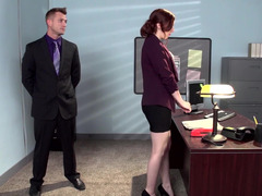 A redhead that has a hirsute snatch is getting fucked in the office