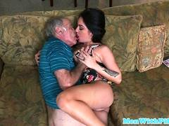 Porn model Aria Rose rimming elderly mans tooshie