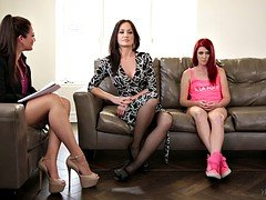 Family therapist plays with mom & stepdaughter