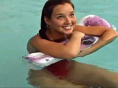 Christina Xxx movie star in pink Swimsuit