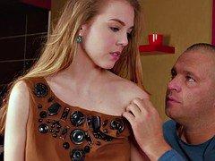 Virgin Alesya being seduced by a pornography actor