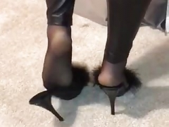 Nylon soles and additionally wetlook leginggs