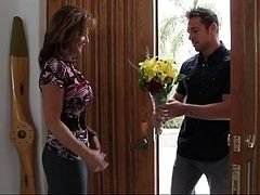Bringing flowers to his finest buddy's mom