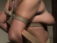 Submissive sexually available mom deepthroating in BDSM action
