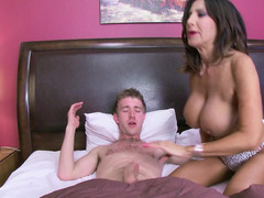 Brunette Soccer mom whore with large balloons gets nailed by her stepson