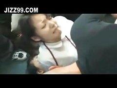 schoolgirl hardcore group double penetration internal cumshot on bus 01