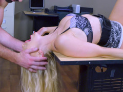 Blonde darling with a curvy body gets nailed by her aroused boss