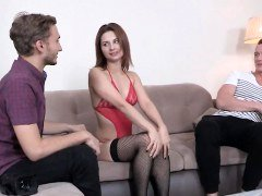 Indebted stud allows slutty pal to shag his ex-girlfriend f