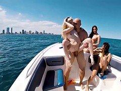 Slutty bikini chicks got fucked on a boat