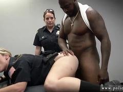 Two busty officers of the law blow a black fellas donger