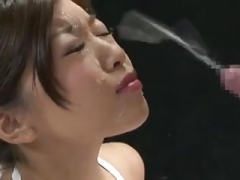 Large explosive facial cumshot for asiatic gal
