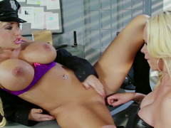 Lustful hoe in a cop uniform fucks her partner with a strap-on