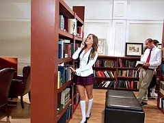 The gentle broad has a dirty sex in a college library