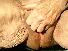 Mature Granny jerk off her big clitoris! Newbie!