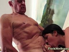 Brunette Alexis Loves Gramps Huge Purple pole