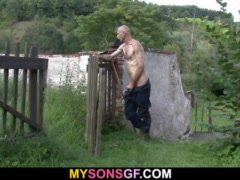 Horny old dude helps his son's Girlfriend