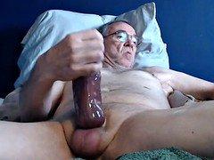 huge cum cannon grandpa stroke on cam