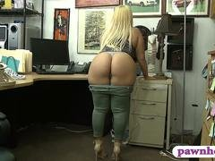 Phat tush lady pounded by pawnshop owner in his office