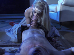 Dame in leather stockings fucked by a monster purple rod