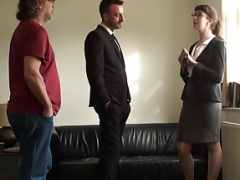 Submissive uk realtor takes flag pole ass to mouth