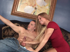 Busty blonde knows that blowjob is just the beginning