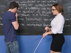 Bad teacher seduces him with a fantastic titjob