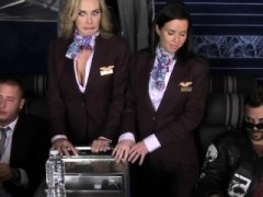 Flight attendant femdoms pussyfucked