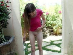 Good-looking looking teen gal gives a handjob and blows her man's purple rod