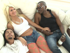 Interracial 3-way by blonde whore and besides a pair of brutal males