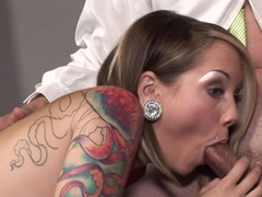 A blonde and brunette show their love towards a long hard pole