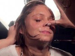 Beautiful girl's face is dripping with spit
