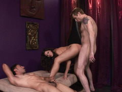 Two dudes an a dude are having a bisexual threesome with each other
