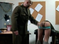 Uniformed dilf blows on immature cadets asshole