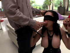 Guy and his friend have sex with a lustful brunette