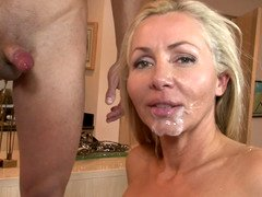 Tons of jizz gets into the mouths of hungry for cum females