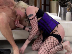 Submissive blonde is screwed hard by two blokes