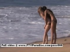 Faye & Larysa funny rookie sexy excited lesbians flashing on the beach