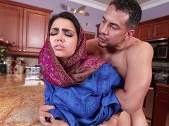 Charming Arab babe gives him a oral sex and bends over for that purple rod