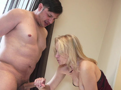 A granny receives a big dick inside her mouth and besides she is licked
