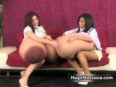 A duo excited female friend with big bra buddies adore