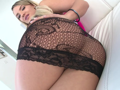 Sexpot with big ass is engaged in ass fucking and deepthroating